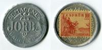 N93-0221 - Timbre-monnaie - Almacenes Jorba - Barcelona - 10 Centimos - Kapselgeld - Encased Stamp - Monetari/ Di Necessità
