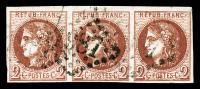 N°40B, 2c Brun-rouge En Bande De Trois Horizontale, Jolie Pièce, TB (signé/certificat)    Qualité: O  Cote: 1150 Euros - 1870 Emission De Bordeaux