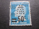 FRANCE => PASTEUR N°219 SURCHARGE => W 10   INDICE 5 =>Timbre Perforé Perforés Perfins Perfin Perforation - Perforés