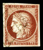N°6B, 1F Carmin-brun Obl Grille Légère, Frais, TTB (certificat)    Qualité: O  Cote: 1000 Euros - 1849-1850 Cérès