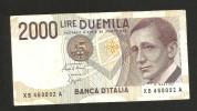 [CC] ITALIA - BANCA D'ITALIA - 2000 Lire MARCONI (SERIE SOSTITUTIVA XB ... A - Decr. 1992) Non Comune - [ 2] 1946-… : Repubblica