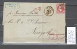 France  Lettre Pour Les Etats Unis - Paris Pour New York - 1866 - 1849-1876: Période Classique