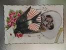 Carte Coeur Amoureux Ajoutis Ruban Hirondelle Fleurs - A Systèmes