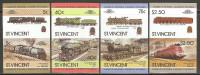 St. Vincent 1984 Mi# 770-777 U ** MNH - Imperf., 4 Pairs - Locomotives / Trains (III) - Trains