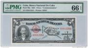 """1953  1  PESO """" CENTENARIO """" CERTIFICADO  PMG # 66 - PICK # 86a - EPQ  """" SCARCE """"  UNCIRCULATED ( SIN CIRCULAR ) - Cuba"""