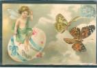Relief - Gaufrée - Embossed - Prage - Ange Et Papillons -TBE - Superbe - Easter