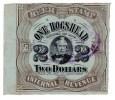 "BILLET / BILL - FISCAUX AMERICAIN 1878 - RARE - BEER STAMP "" ONE HOGSHEAD "" 2 DOLLARS - INTERNAL REVENUE - Fractional Currency (1862-1875)"