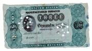 BILLET / BILL - FISCAUX AMERICAIN 1883 - UNITED STATES MANUFACTURED TOBACCO - THREE POUNDS - Zonder Classificatie
