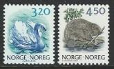 Norway  1990  Sc#881, 883B  3.20K Swan & 4.50K Beaver  MNH**  2016 Scott Value $3.50 - Norvège