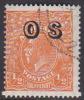 Australia 1913-36 King George V, Overprinted OS, Half Penny Orange Used O128