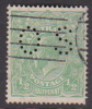 Australia 1914-24 Single Watermark King George V, Perforated Small OS, Half Penny Green Used O38