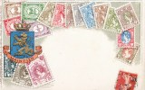 CARTE GAUFREE : NEDERLAND MAINTIEN LANGAGE DES TIMBRES FANTAISIE TIMBRE STAMP NEDERLAND 1900 - Timbres (représentations)