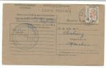 SERVICE N°15A SUR CARTE DE CONTROLE OBLITERATION LA GLACERIE (MANCHE) DU 25/9/1946 - Lettres & Documents
