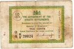 Rare Billet  De 10 Cents THE GOVERNMENT OF THE STRAITS SETTLEMENTS  *SINGAPORE 1919-1920 - Singapore