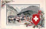 Interlaken Und Jungfrau, Armoirie Suisse, Litho Gaufrée Par H.F. (4157) - BE Berne