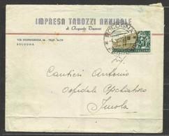 1952 Italia Italy Repubblica STORIA POSTALE Busta Viaggiata In Tariffa Bologna Imola Affr. 25L Vanvitelli - 6. 1946-.. Repubblica