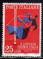 ITALIA REPUBBLICA ITALY REPUBLIC 1958 PREMIO CONCORSO INTERNAZIONALE RADIO-TV LIRE 25  MNH - 6. 1946-.. Repubblica