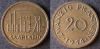 SARRE  20 Franken Ou Franc Sarrois 1954   SARRELAND Protectorat / Zone D'occupation Française En Allemagne   Port Offert - Sarre (1954-1955)