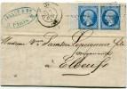 PARIS LAC Du 07/07/1867 Avec N°22 En Paire Bord De Feuille Oblitéres Etoile + Dateur  N° 1380 - Marcophilie (Lettres)