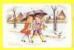 * Fantaisie - Fantasie - Fantasy (New Year - Bonne Année) Roses, Enfants, Child, Kind, Snow, Neige, Parapluie, Umbrella - Nouvel An