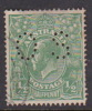Australia 1918-20 Large Multiple Watermark King George V, Perforated Small OS, Half Penny Green Used O61