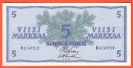 Billet - FINLANDE - 5 Markkaa - De 1963 -  Pick 99 - Finland