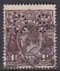 Australia 1918-20 Large Multiple Watermark King George V, Perforated Small OS, Three Half Penny Black Brown Used O64