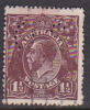Australia 1918-20 Large Multiple Watermark King George V, Perforated Small OS, Three Half Penny Black Red Brown Used O65