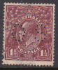 Australia 1918-20 Large Multiple Watermark King George V, Perforated Small OS, Three Half Penny Brown Used O65
