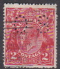 Australia 1918-23 Single Watermark King George V, Perforated Small OS, 2d Red Used O72
