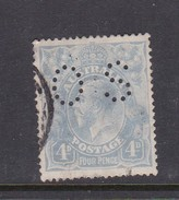 Australia 1918-23 Single Watermark King George V, Perforated Small OS, 4d Blue Used O74