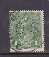 Australia 1918-24 Single Watermark King George V, Perforated Small OS, 1d Green Used O79