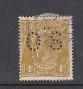 Australia 1918-24 Single Watermark King George V, Perforated Small OS, 4d Olive Used O83