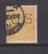 Australia 1918-24 Single Watermark King George V, Perforated Small OS, 4d Orange Used O41