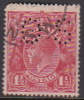 Australia 1918-24 Single Watermark King George V, Perforated Small OS, Three Half Penny Red Used O89