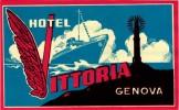 4 Hotel labels ITALY ITALIE  GENOVA GENUA GENOA  Vittoria Plaza  Britannia Astoria Belgrano