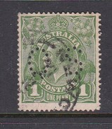 Australia 1926-28 Small Multiple Watermark perf 14 King George V, Perforated Small OS, 1d Green Used O89
