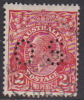Australia 1931-36 Small Multiple Watermark perf 13.5 x 12.5 King George V, Perforated Small OS, 2d Red Used O104