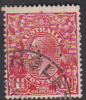 Australia 1931-36 Small Multiple Watermark perf 13.5 x 12.5 King George V,perforated Small OS, Three Half Penny Red O100