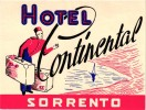 2 Hotel Labels ITALY ITALIE SORRENTO   Villa Marino  Hotel Continental  Bell Boy Piccolo - Hotel Labels