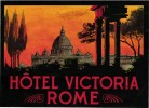 3 Etiquettas HOTEL LABELS ITALY ITALIE  ROMA ROME HOTEL VICTORIA  EXCELSIOR PALAZZO    Impr.Richter - Hotel Labels
