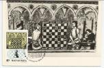 Joueurs D'échecs, Gravure Du 13 Ième Siècle, Carte-maximum De Hongrie - Chess