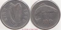 Irlanda  10 Pence 1969 KM#23 - Used - Irlanda