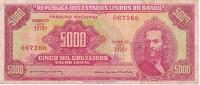 BILLETE DE BRASIL DE 5000 CRUZEIROS DEL AÑO 1964  (RARO)(BANKNOTE) TIRADENTES - Brasil