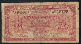 BELGIUM  P51  5  FRANCS   1943    FINE - [ 2] 1831-... : Belgian Kingdom