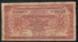 BELGIUM  P51  5  FRANCS   1943  #A2       FINE - 5 Francs