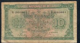BELGIUM  P52  10  FRANCS   1943    FINE - 10 Francs-2 Belgas