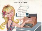 Typ Ik U Hier Beste Wensen Blonde Typist Girl Fantasy Mechanical Greeting Card Not Postcard - Dreh- Und Zugkarten