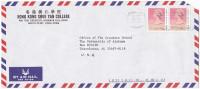 1990 Air Mail   HONG KONG SHu Yan COLLEGE COVER Stamps 2x 90c To USA, China - Hong Kong (...-1997)