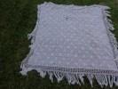 Nappe Ancienne-au Crochet -coton- A Restaurer Ou A Utiliser Pour Confectionner  Robe De Poupee 150x150 Cm - Napperons